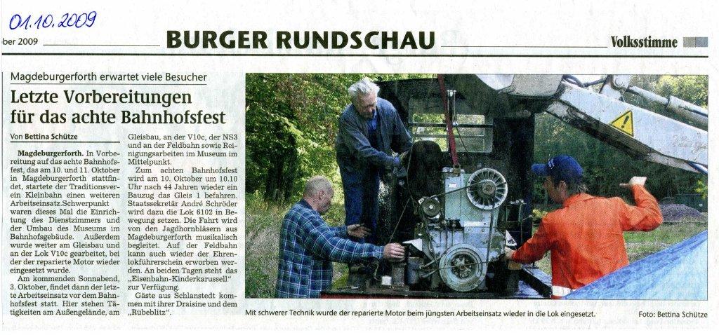 (Volksstimme/Burg 01.10.2009)