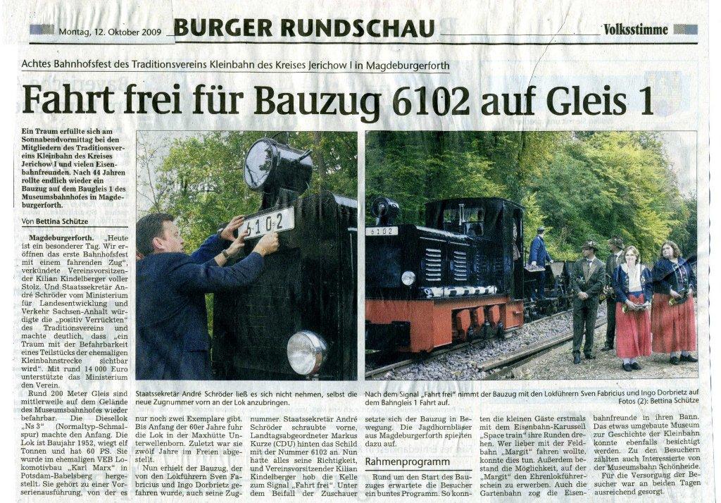 (Volksstimme/Burg 12.10.2009)